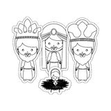 Dotted sticker the three wise men with jesus baby Stock Photography