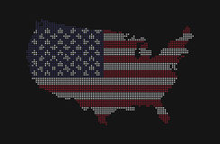 Dotted style map of USA and america flag pattern Royalty Free Stock Photo