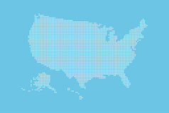 Dotted style map of USA and blue background Royalty Free Stock Photo