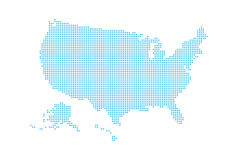 Dotted style map of USA and white background Royalty Free Stock Photos