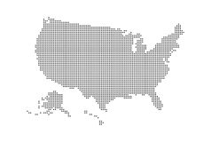 Dotted style map of USA and white background.  Stock Photo