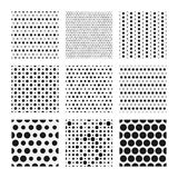 Dotted texture collection, vector seamless patterns Royalty Free Stock Photography