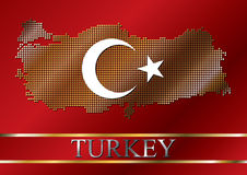 Dotted Turkish map and flag stock illustration