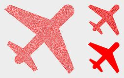 Dotted Vector Airplane Icons. Pixelated and mosaic airplane icons. Vector icon of airplane designed of irregular round pixels. Other pictogram is combined from vector illustration
