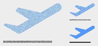 Dotted Vector Airplane Takeoff Icons. Pixelated and mosaic airplane takeoff icons. Vector icon of airplane takeoff designed of scattered circle pixels. Other royalty free illustration
