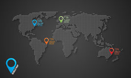 Dotted vector world map with shadows and map icons Royalty Free Stock Photo