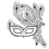 Dotted Venetian carnival mask Colombina with outline peacock feathers in black  on white background. Stock Photography