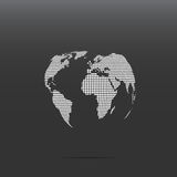Dotted world continents. White dotted world continents on the globe shape isolated on dark background Stock Photo