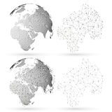 Dotted world globe with abstract construction, connecting lines and dots, molecules on white background. Molecule Stock Photos