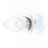 Dotted world globe, connecting lines, abstract construction, space station, orbit isolated Stock Photo