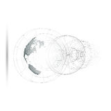 Dotted world globe, isolated abstract construction, connecting lines on white background. Isolated 3D dotted world globe with abstract construction, connecting royalty free illustration