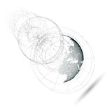 Dotted world globe, isolated abstract construction, connecting lines on white background. Vector design, structure. Isolated 3D dotted world globe with abstract stock illustration