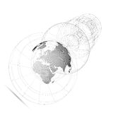 Dotted world globe, isolated abstract construction, connecting lines on white background. Vector design, structure Stock Photography