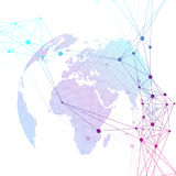 Dotted world globe. Scientific geometric background with connecting lines and dots. Global network connection. Big data Stock Photography