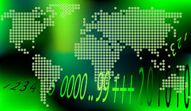 Dotted world map. Global world map made from small dots; concept  illustration Stock Photo