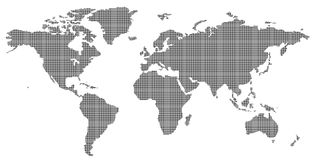 Dotted world map. A map of the world made of small patterns Stock Photography