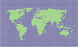 Dotted world map. Stylized dotted blue and green vector world map stock illustration