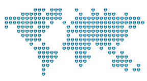 Dotted world map. Made of blue spheres. Vector illustration Stock Illustration