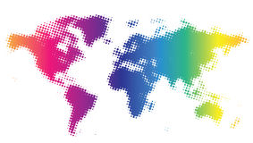 Dotted world map. Multicolored dotted world map. Vector illustration Vector Illustration
