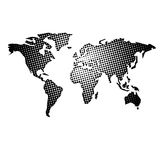 Dotted world map. Abstract world map illustration with different size dots Vector Illustration