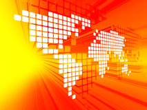 Dotted world map background. 3D concept of white dotted world map on red, yellow background Royalty Free Illustration
