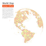 Dotted World Map Background. Earth Globe. Globalization Concept. Stock Images