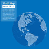 Dotted World Map Background. Earth Globe. Globalization Concept. White And Blue. Vector Royalty Free Illustration