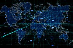 Dotted world map background. Global network connection vector illustration