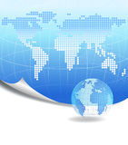 Dotted world map background and a globe Stock Photography