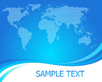 Dotted world map background vector. Dotted world map blue background Stock Images