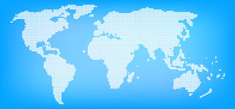 Dotted world map on blue background Stock Photos