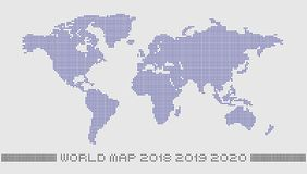 Dotted world map by circle dots. Accurate pixels world map, monochrome with a light background color Royalty Free Illustration