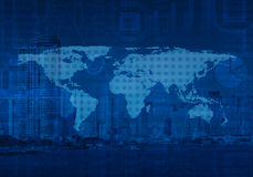 Dotted world map on city tower, Global business, Elements of thi Stock Photography