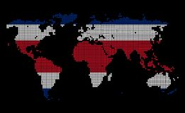 Costa Rica. Dotted world map in Costa Rica flag colors isolated on black background Royalty Free Stock Photos