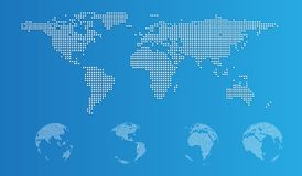 Dotted world map in flat and sphere Stock Photo