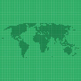 Dotted world map with geographic grid Royalty Free Stock Image