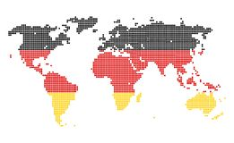 Germany. Dotted world map in Germany flag colors isolated on white background Royalty Free Stock Image