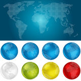 Dotted World Map and Globes Stock Photography