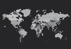 Dotted World map of hexagonal dots Stock Images