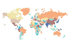 Dotted World map of hexagonal dots stock illustration