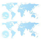 Dotted world map isolated on white Stock Photography