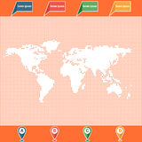 Dotted World map and location pointers. World map. Dotted oceans. Map containers and pins Stock Photography