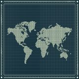 Dotted world map over blueprint background Royalty Free Stock Photos