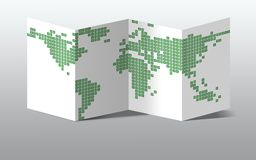 Dotted world map on paper. Dotted green world map,  on a white paper Stock Image