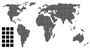Dotted world map (pixel) Stock Photography