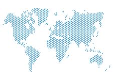 Dotted world map. World map blue. Dotted world map. Pointed World map blue for infographics Vector Illustration