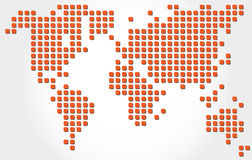 Dotted world map. Red dotted map of world with shadow Royalty Free Stock Images