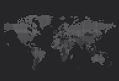 Dotted World map of square dots. On dark background. Vector illustration Stock Illustration
