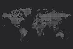 Dotted World map of square dots Royalty Free Stock Images