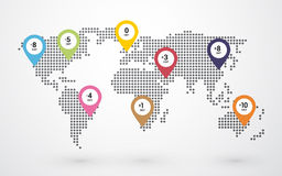 Dotted world map with time zones. Dotted world map with pin marking time zones Stock Illustration